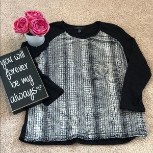 Style & Co. Black and faux fur sweater.